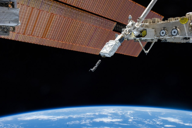 Two 30-centimetre-long Earth-observing CubeSats were released from the International Space Station in February. Photo: Nature Magazine.