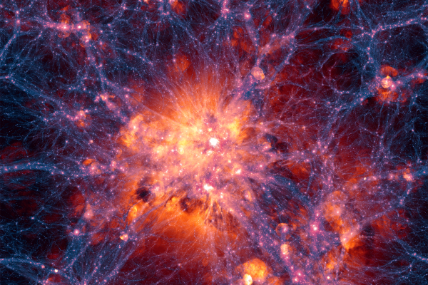 Large scale projection through the Illustris volume at z=0, centered on the most massive cluster, 15 Mpc/h deep. Shows dark matter density overlaid with the gas velocity field.