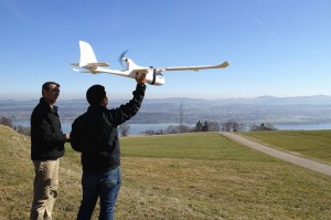 ConservationDrones.org co-founders Koh (right) and Serge Wich (left) test an early conservation drone model in Zurich, Switzerland, in 2012. PC: ConservationDrones.org