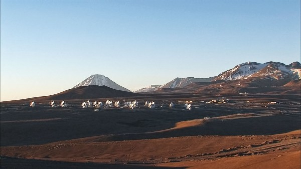 An array of telescope dishes 156,00 ft up on  Chajnantor Plateau in Northern Chile.