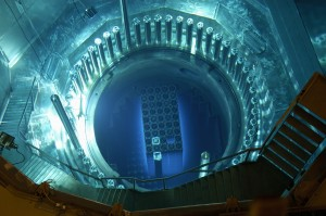 The submerged radioactive uranium cores of a russian reactor