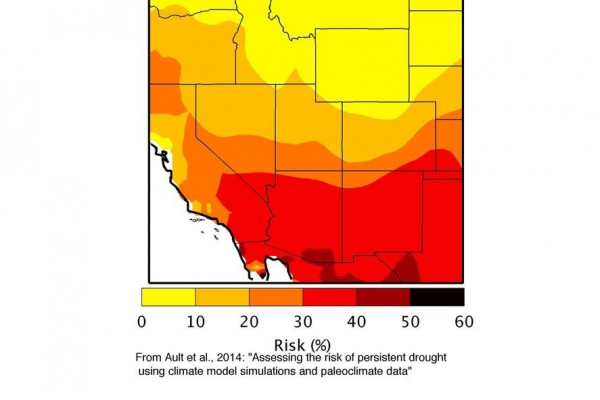 "Map shows a high risk for a ""megadrought"" in the Southwest, according to study by Cornell University, the University of Arizona and the U.S. Geological Survey. (Toby Ault / Cornell University)"